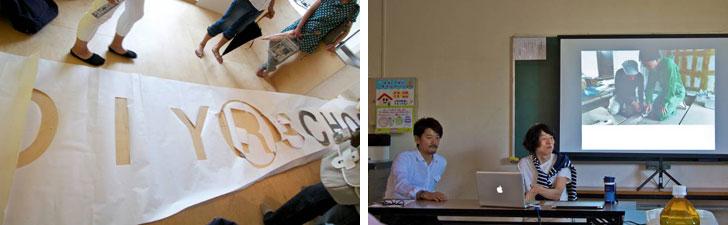 【画像3】オープンハウスでは株式会社大都 代表取締役の山田さんと久田さんによるトークイベント(右)やライブペインティングも行われた(左)(写真撮影:井村幸治)