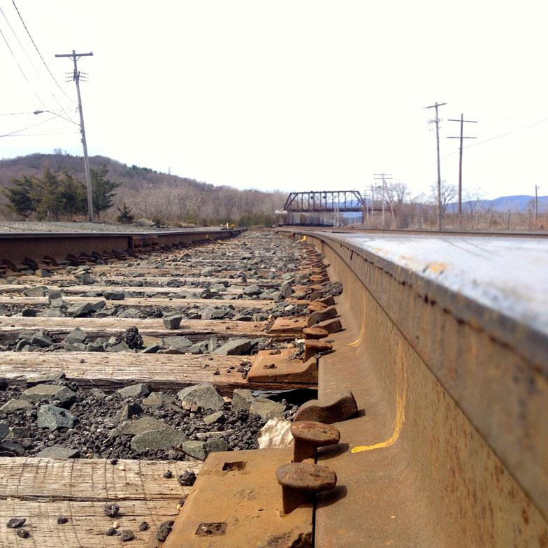 【画像8】目の前を走る線路。ずっと向こうまで延びる線路に、アメリカ大陸って広いよなぁなどと勝手な妄想が広がりました(撮影:小野有理)