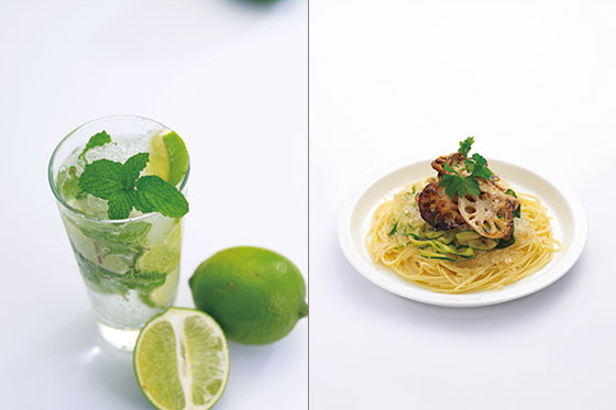 【画像2】自宅で気軽にモヒートがつくれるのはうれしい!(画像左)。コンソメ風味の氷で冷製パスタもおいしそう(画像右) 画像提供/株式会社ドウシシャ