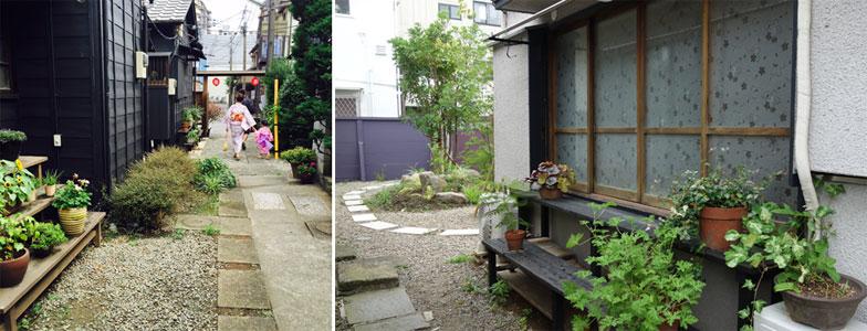 【画像1】(左)敷地内には花台や砂利道なども。浴衣でそぞろ歩くのが似合う。(右)緑が映える黒い縁台、花模様の磨りガラス、ガラガラ開け閉めする木のサッシなど、ノスタルジックな雰囲気(写真撮影:左/SUUMOジャーナル編集部、右/金井直子)