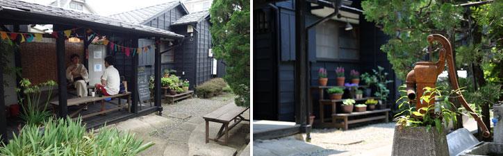 【画像2】(左)住人交流の場の一つである東屋。何人か集まってビール片手に夕涼みをすることもあるそう。(右)手押しポンプの井戸は昔の風景そのままに(左/写真撮影:金井直子、右/写真提供:大森ロッヂ)