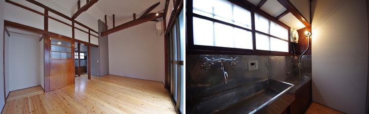 【画像3】(左)白い壁に濃い飴色に輝く柱や梁が印象的な室内。(右)キッチンというより「お台所」といった風情。流しが広い!(写真提供:大森ロッヂ)