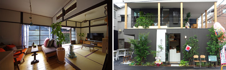 【画像4】(左)レトロ家具がよく似合う、和を感じさせるしつらえ。(右)店舗付き長屋の一つ、「たぐい食堂」は夏祭り当日にオープン(左/写真提供:大森ロッヂ、右/写真撮影:金井直子)