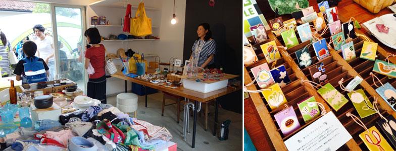 【画像6】(左)夏祭りのギャラリーで行われた蚤の市。住人出品の掘り出し物や、ハンドメイドのクラフト作品が並びます(右)手づくりのアロマタイル(写真撮影:左/金井直子、右/SUUMOジャーナル)。