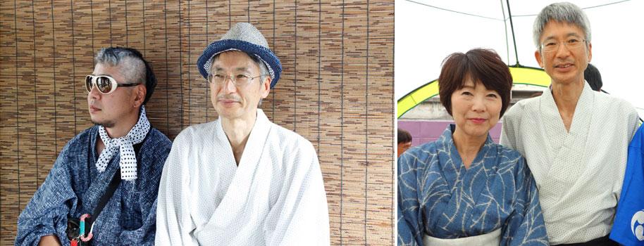 【画像8】(左)オーナーの矢野一郎さん(写真右)と、住人で管理人もつとめるヤマダンナさん(写真左)。(右)この土地で生まれ育ったという奥様と矢野さん。皆さん、夏祭りに合わせた涼やかな装いがお似合い(写真撮影:左/SUUMOジャーナル、右/金井直子)