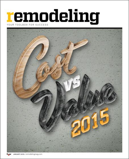 【画像6】今年の『remodeling』誌の「Cost vs. Value」特集号表紙。 全米平均では、キチン部位においてリフォーム投資額$113,000 vs. 査定評価$66,700=59%の費用回収率 (ホームページ詳細データ http://www.remodeling.hw.net/cost-vs-value/2015/)