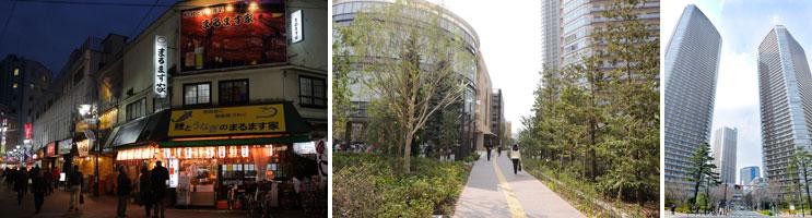 """【画像1】左:アクセスが向上した赤羽駅には昔ながらの""""センベロ""""スポットも(撮影:藤本和成)/中・右:武蔵小杉は高層マンションが立ち並ぶ。大規模商業施設も人気だ(撮影:森カズシゲ)"""