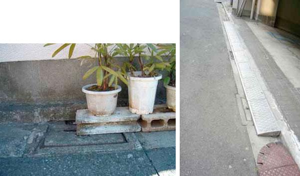 【画像5】プランターや段差解消プレートが、雨水ますをふさいでしまっている例(画像提供:東京都 下水道局)