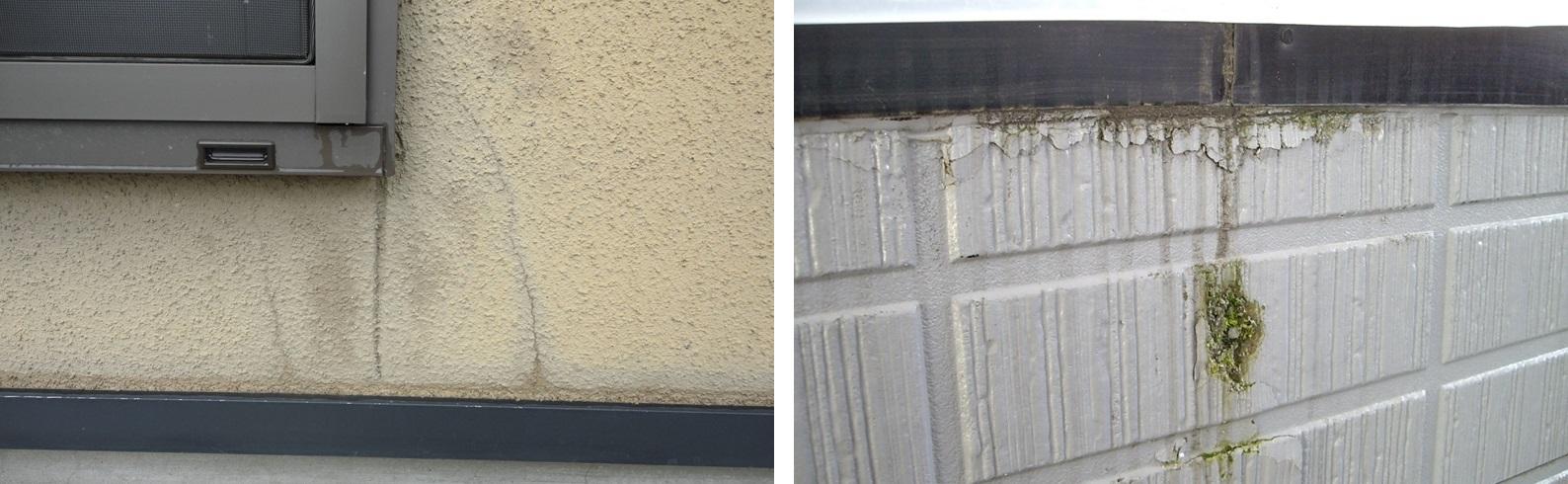 左:モルタルにリシンという吹付材を吹き付けた仕上げの外壁。塗装面の退色劣化と撥水性の低下により、雨水浸透とクラック(ひび割れ)が見られる 右:ベランダ部分。外壁(サイディング)に雨水が浸透し、冬場凍結してボロボロに。すぐ下のコーキングも劣化し雨水が浸透、常に濡れた状態になったため、苔が発生したものと思われる