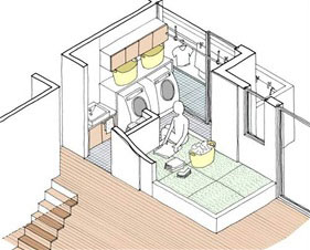 【画像2】Wシェアランドリーの空間イメージ。室内干しや家事室も二世帯分を1カ所にすれば十分な広いスペースが取れる(提供:旭化成ホームズ)