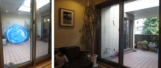 【画像6】『そらの間』と呼ばれるバルコニーは、外からの視界を遮る壁が設けられ都会でもプライバシーが守られる。(左)親世帯から見たバルコニー、子ども用プールの右手が子世帯住戸。(右)子世帯リビングからは、左手に親世帯住戸が見える(写真撮影:藤井繁子)