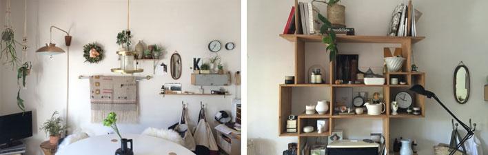 【画像4】石井さんのご自宅の壁。左は棚やフックを活用してさまざまなものを飾って楽しげに。右は古道具屋さんで見つけたという棚を壁に打ち付けた。実は左右どちらも同じ部屋。壁一面だけでも部屋の印象はがらりと変わる。よい気分転換ができそう(画像提供/石井佳苗)