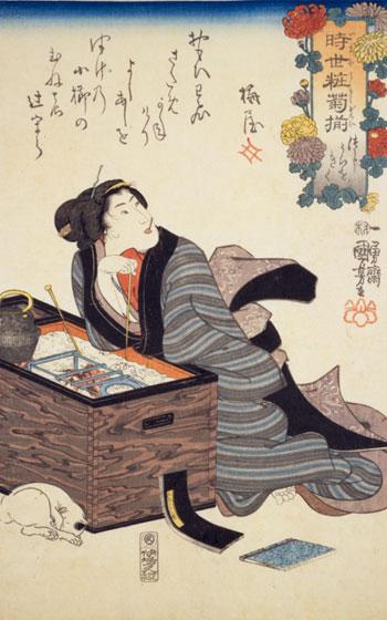【画像1】長火鉢 出典:「時世粧菊揃・つじうらをきく」一勇斎国芳(画像提供/国立国会図書館ウェブサイト)