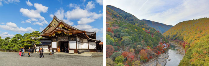 【画像1】左:3位烏丸御池からも歩いていける二条城(写真:coward_lion / 123RF 写真素材)、右:紅葉が美しい10位嵐山(写真:seaonweb / 123RF 写真素材)