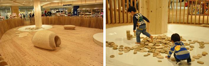 【画像7・8】中央のWood Egg(ウッドエッグ)では、国産材をふんだんに使ったおもちゃで遊べる(写真撮影:嘉屋恭子・SUUMOジャーナル編集部)