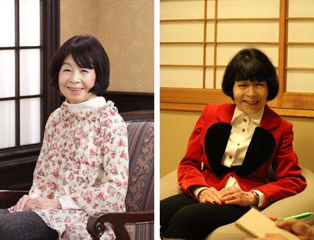 【画像2】左:創業当時の京子さん。おっとりとしたやさしいマダムという雰囲気(写真提供/和田京子不動産)。 右:現在の京子さん。ヴィヴィアン・ウエストウッドで全身をコーディネートして、バリキャリな雰囲気とかわいらしさを漂わせています(撮影/SUUMOジャーナル)