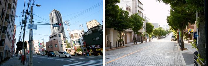 【画像5】玉造筋(たまつくりすじ:大阪市内を南北に走る道路のひとつ)の「真田山」交差点周辺はマンションも多い(左)。交差点から西へはなだらかな石畳の坂道。坂を登ると真田山小学校が見えてくる(右)(写真撮影:井村幸治)