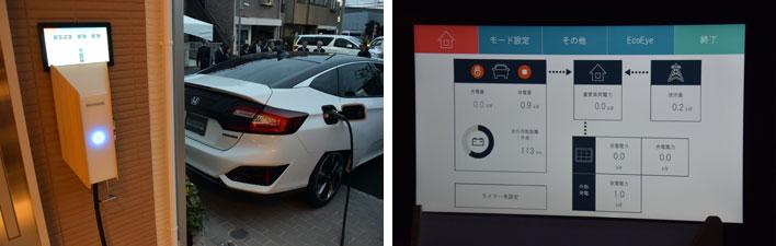 【画像5】停電時に電力を供給できる燃料電池車と家を繋ぐという提案。ガスエンジンコージェネレーションシステムが復旧し、電力を供給できるようになると、どちらが効率よくエネルギーを使えるか自動で判断する(写真撮影:SUUMOジャーナル編集部)