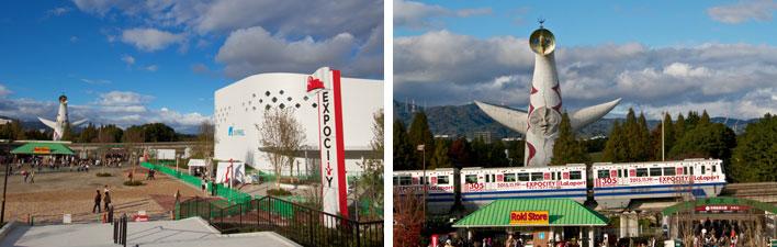 【画像1】「太陽の塔」は大阪モノレールをはさみ、すぐ向かい側。モノレールにはラッピング車両も登場し、とても盛りあがっている!(写真撮影:井村幸治)
