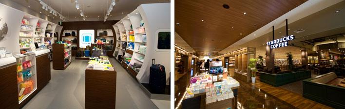 【画像12】(左)トラベルコンセプトストアは飛行機の機内をイメージした店舗。(右)書店とカフェとカメラショップがコラボ(写真撮影:井村幸治)