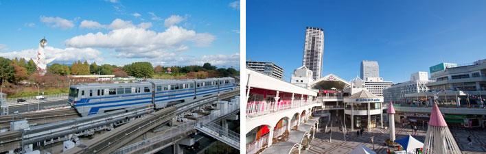 【画像15】(左)万博記念公園駅は彩都西へ向かう支線への分岐駅でもある。朝夕は彩都西から千里中央への直通列車も走る。(右)千里中央では商業施設の再開発やタワーマンションの建設も続いている(写真撮影:井村幸治)