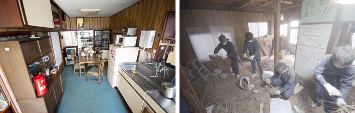 【画像4】もともとは「ザ・民家」というリビングキッチン(写真左)工事の様子(写真右)(写真提供:ユウト)