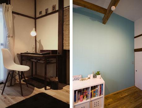 【画像5】入居者男性の好みにより、モノトーンでまとめられた一室(写真左)海辺のリゾートをイメージした女性入居者の部屋(写真右)(写真提供:ユウト)