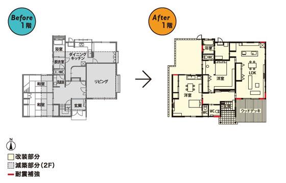 【図1】リフォーム前の玄関ホールやリビング・ダイニングはとても広く、リフォーム後はこれらの空間を少しずつ狭めて洋室にスペースをプラス(画像提供:住友不動産株式会社)
