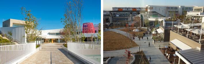 【画像2】左:立飛駅から2階へつながるブリッジ(画像提供:三井不動産)、右:駅から続く広場に面してテラス席のあるレストランも(撮影:金井直子)