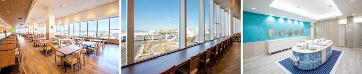 【画像5】左・中:店舗数が10、座席は650席設けたフードコート「sora Picnic」。窓から富士山やモノレールがゆっくり走る様子が望めます。右:おしゃれな「suite bathroom」。メイクアップルームやソファのある待合室も完備(画像提供:三井不動産)