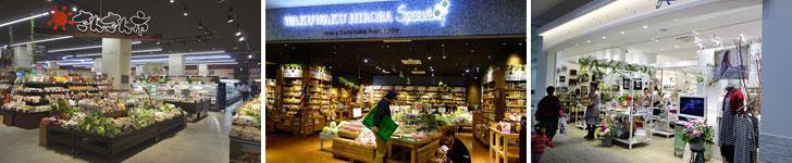 【画像10】左:スーパーマーケット「ブルーミングブルーミー」内にある産直市場「さんさん市」。中:「WAKUWAKU HIROBA Sprout」では安心・安全にこだわった野菜や調味料、食材が美しく陳列されています。右:幅広く癒やしグッズを扱う「Amimoon」(撮影:金井直子)