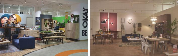 【画像15】ベルギー生まれのインテリアショップ「OKAY」。ヨーロッパを中心にセレクトされた個性的な家具やインテリア雑貨がたくさん。八王子の村内ファニチャーアクセスが運営していて、日本で4店舗目の出店です(撮影左:金井直子、撮影右:SUUMOジャーナル編集部)