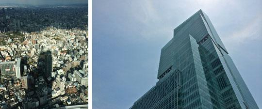 【画像3】(左)12月初旬、あべのハルカスがつくりだす影。周囲には住居地域もあり、タワーマンションもすっぽりと影に隠れる時間もあるが、影の移動スピードは意外と早く日影規制の対象とはならない。(右)夏至に近い6月下旬の「あべのハルカス」。太陽の位置が高い(写真撮影:井村幸治)