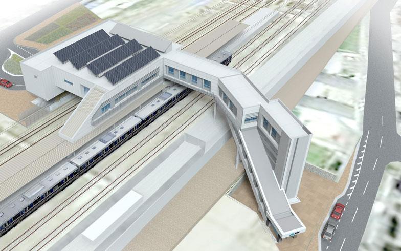 【画像1】摩耶駅の完成予想図。鉄道施設があった隣接敷地にはマンションの開発もすすめられている(画像提供:JR西日本)