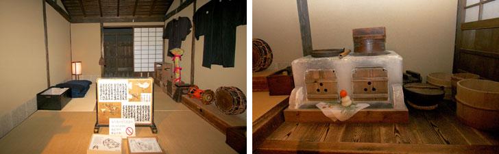 【画像5】こちらは義太夫節の師匠・松太夫の住まい。間口1間半、奥行2間半で四畳半と少し広い。三味線や羽織といった大事な商売道具もみられる(左)。かまどは大型の