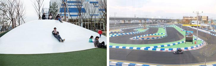 【画像11】左:キッズ広場(無料)のすべり台は、よくすべりスピードが出ると好評。右:「シーサイドサーキット」(有料)は全長約600m。ジュニアからベテランまでレーサー気分を体感(写真撮影:倉畑桐子)