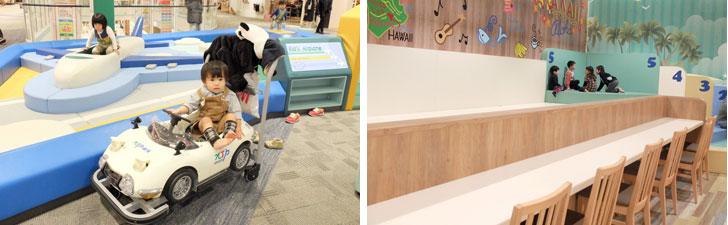 【画像15】子どもが楽しめる工夫も多数。左:「NTP-ark」では、トヨタ2000GTのカートの無料貸し出しがある。右:フードコート「FOOD WONDERLAND」のキッズコーナーでは、子どもが遊ぶ様子を見ながら、親の休憩が可能(写真撮影:倉畑桐子)