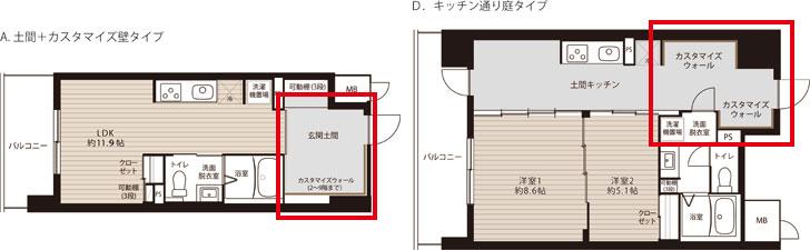 【画像1】カスタマイズウォールをもつタイプの間取り。玄関付近にあるこの壁が好きにDIYできるゾーン。いずれのタイプも土間が特徴的。左:約35㎡、月額家賃6万7200円~ 右:約55㎡、月額家賃9万3200円~(画像提供/大阪市住まい公社)
