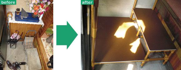【画像3】Before:上がり框(かまち)のスペースが狭く段差も大きく不安定 → After: 下駄箱を移設し手すり付きの2 段用ステップを設置。手すりなどの設置は高さなど利用者に合わせて設計するので、ほとんどがオーダーメイド(写真提供:パナソニック)