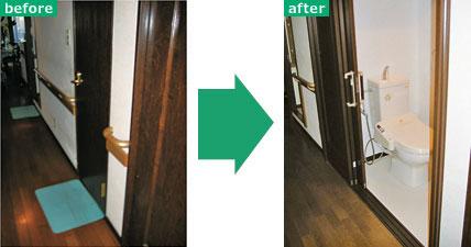 【画像7】開き戸は体も引っぱられ転倒のきっかけに。引き戸へのリフォームで開閉が楽になり車椅子での出入りも可能に(写真提供:パナソニック)