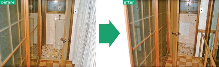 【画像8】ドアの開き方向を付け替え、手すりを付けることで、トイレへの動線を安全にしたリフォーム(写真提供:パナソニック)