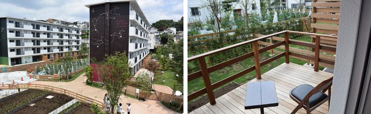 【画像2】左:団地の敷地には芝生の丘、雑木林があり、のんびりできる公園のよう。右:1階の部屋はテラスと専用庭付き。部屋の窓からは緑豊かな景色が広がる(写真撮影:SUUMOジャーナル編集部)