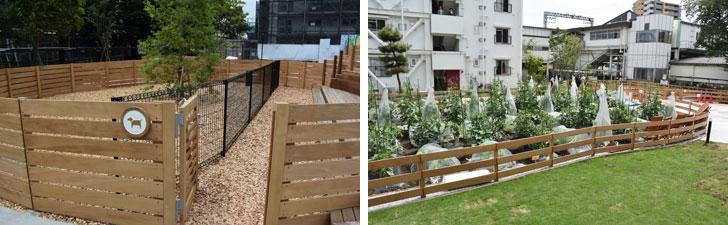 【画像3】左:ペット飼育可の3号棟前にある入居者向けドッグラン。 右:外から人を呼びこむ仕掛けのひとつのサポート付き貸し農園。入居者でなくても借りることができる(写真撮影/SUUMOジャーナル編集部)