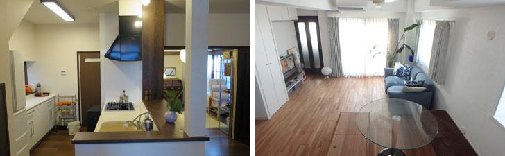 【画像2】左:社会人6年目まで住んだ実家は築50年一戸建て。思い出を残しつつ、母が快適に住めるよう6年前にリノベーションした。右:壁は漆喰塗り、床は無塗装と自然素材にこだわってリノベーションした自宅マンション。リノベの楽しさと効果はこの時実感した(写真撮影/長井純子)