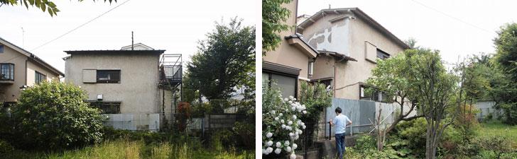 【画像3】改修前の「世田谷桜丘の家」。推定築50年以上の古く傷みの激しい住宅だった。形も改修後と大きく異なる(写真:リビタ)