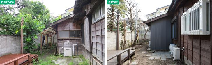 【画像1】外壁コストダウンの一例。窓をなくすなど大幅な変更で補修がききにくい部分を除き、既存の木の外壁を生かせるものはなるべくそのまま使い、補修して塗装した(写真撮影/左:長井純子、右:片山貴博)