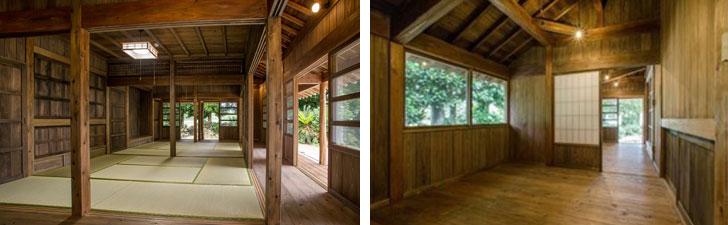 【画像5】前回紹介した伊藤さん家族が住むことになった伊是名集落の古民家。(左)奥が一番座、手前が二番座。それぞれ床の間と仏壇置き場があり、南を向いている。縁側があり、外周まで軒が突き出る形。これで夏の日差しはずいぶんと和らぐ。(右)裏座は板の間。こちらは屋根の構造がそのまま天井となり、縦に広がりのある空間となっている(画像提供:美音Space Design/写真撮影:川畑公平)