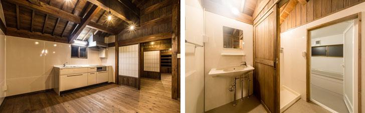 【画像6】キッチンや水まわりは最新のものを取り入れている。システムキッチンはIHクッキングヒーターで万一の火事にも対応している。新たに設置された水まわりには、可能な限り木の質感を取り入れ、古民家の雰囲気に合わせる工夫も施されている(画像提供:美音Space Design/写真撮影:川畑公平)