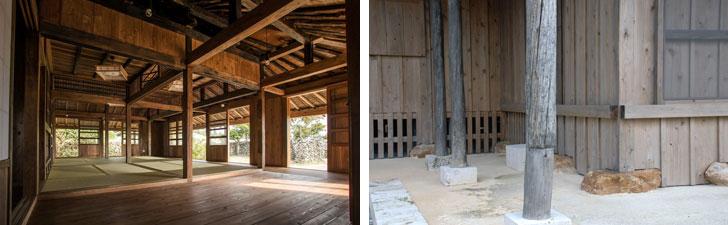 【画像7】修復した古民家では、古い木材で使えるものは可能な限り、残している。(左)色の濃淡で新旧の木材が混在しているのが分かる。(右)外の軒を支える柱。古木と古木を継ぎたして1本の柱として再利用している(左/画像提供:美音Space Design 写真撮影:川畑公平、右/写真撮影:伊藤加奈子)