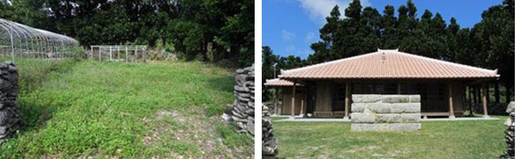 【画像8】すでに家屋は取り壊され、元の所有者が畑として利用していた。新しい木材を使って復元された伊是名集落の古民家は屋敷林に守られ甦った(画像提供:伊是名村役場)